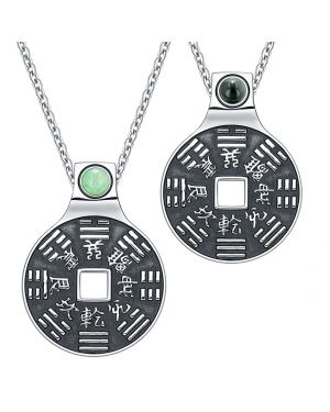 Yin Yang Amulets Love Couple BaGua Forces of Nature Coins Green Quartz Simulated Onyx Necklaces