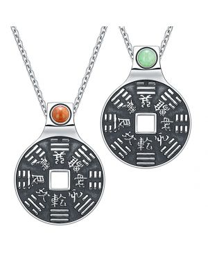 Yin Yang Amulets Love Couple BaGua Forces of Nature Lucky Coins Green Quartz Red Jasper Necklaces