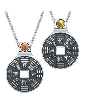 Yin Yang Amulets Love Couple BaGua Forces of Nature Lucky Coins Set Tiger Eye Red Jasper Necklaces