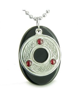 Amulet Celtic Triquetra Protection Knot Onyx Lucky Charm Good Luck Protection Pendant Necklace