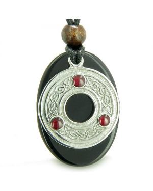 Amulet Celtic Triquetra Protection Knot Onyx Lucky Spiritual Protection Powers Pendant Necklace