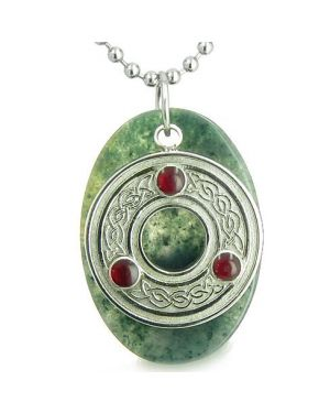Amulet Celtic Triquetra Protection Knot Green Moss Agate Lucky Charm Good Luck Pendant Necklace