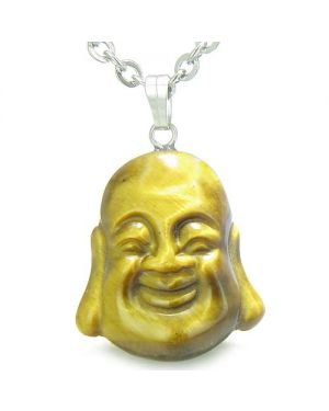 Amulet Happy Laughing Buddha Lucky Charm Tiger Eye Gemstone Evil Eye Protection Pendant Necklace