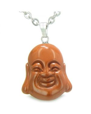 Amulet Happy Laughing Buddha Lucky Charm Red Jasper Gemstone Believe Powers Pendant Necklace