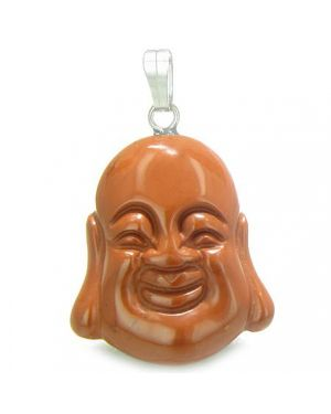 Amulet Happy Laughing Buddha Lucky Charm Red Jasper Gemstone Believe Powers Pendant