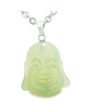 Amulet Happy Laughing Buddha Lucky Charm Green Jade Gemstone Evil Eye Protection Pendant Necklace