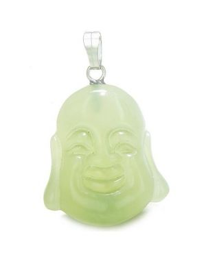 Amulet Happy Laughing Buddha Lucky Charm Green Jade Gemstone Evil Eye Protection Powers Pendant