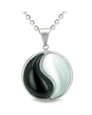 Amulet Forever Balance Yin Yang Magic Powers MedalliDouble Lucky Onyx Cats Eye Pendant Necklace