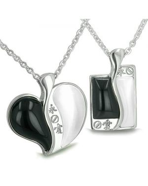 Amulets Love Forever Kanji Couples Best Friends Yin Yang Heart Tag Magic Onyx Cats Eye Necklaces