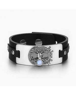Tree of Life Live Love Be Your Self Celtic Amulet Blue Simulated Cats Eye Black Leather Bracelet