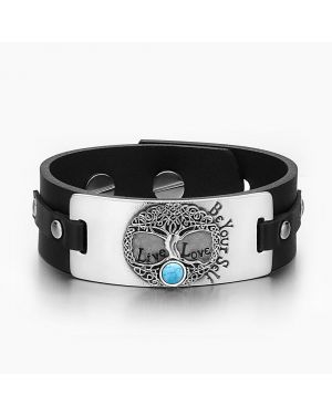 Tree of Life Live Love Be Your Self Celtic Amulet Simulated Turquoise Black Leather Bracelet