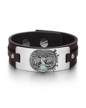 Tree of Life Live Love Be Your Self Celtic Amulet Green Quartz Gemstone Brown Leather Bracelet