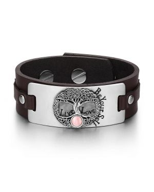 Tree of Life Live Love Be Your Self Celtic Amulet Pink Simulated Cats Eye Brown Leather Bracelet