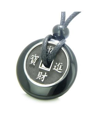 Amulet Lucky Coin Charm Donut in Black Onyx Spiritual Antiqued Pendant Necklace
