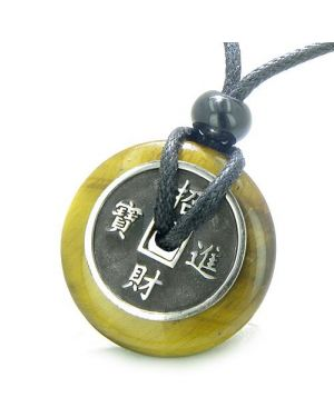 Amulet Lucky Coin Charm Donut Tiger Eye Protection Powers Antiqued Pendant Necklace