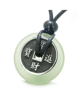 Amulet Lucky Coin Charm Donut Jade Protection Powers Antiqued Pendant Necklace