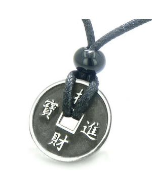 Amulet Lucky Coin Antiqued Charm Fortune Good Luck Power Small Pendant Necklace