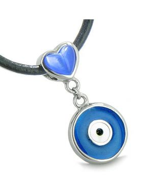 Amulet Evil Eye Reversible Double Lucky Hearts Yin Yang Powers Blue Pink Cats Eye Pendant Necklace
