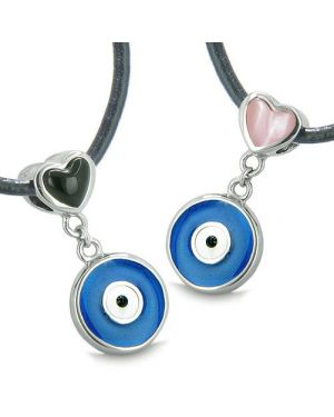 Amulets Evil Eye Protection Charms Reversible Lucky Hearts Love Couple Best Friends Set Necklaces