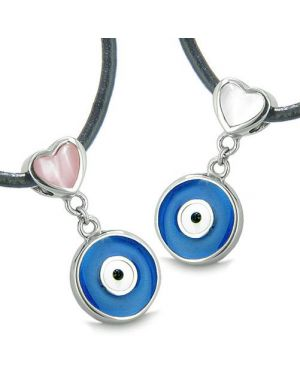 Amulets Evil Eye Protection Charms Reversible Hearts Love Couple Best Friends Pendants Necklaces