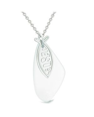 Large Lily Flower Leaf Jesus Christian Fish Mist White Sea Glass Positive Magic Amulet 18 Inch Necklace