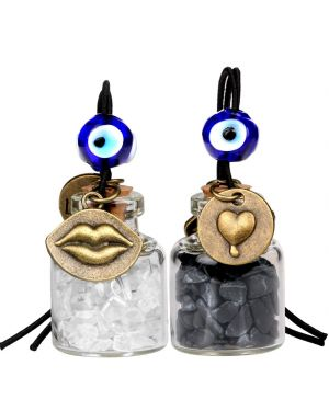 Caring Heart Magic Lips Love Couple Car Charms Home Decor Bottles Quartz Black Obsidian Amulets