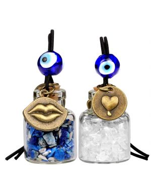 Caring Heart Magic Lips Love Couples Car Charms Home Decor Bottles Lapis Lazuli Quartz Amulets