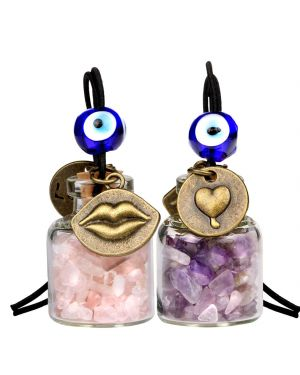 Caring Heart Magic Lips Love Couples Car Charms Home Decor Bottles Amethyst Rose Quartz Amulets