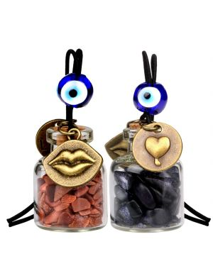 Caring Heart Magic Lips Love Couples Small Car Charms Home Decor Bottles Red Blue Goldstone Amulets