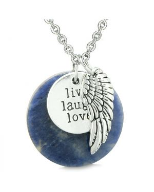 Guardian Angel Wing Live Laugh Love Inspirational Medallion Magic Amulet Sodalite 22 Inch Necklace