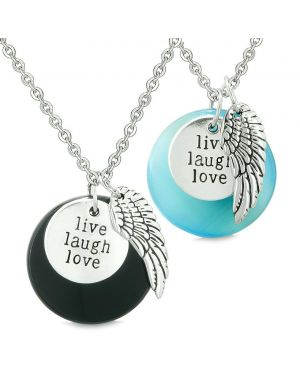 Guardian Angel Wing Live Laugh Love Amulet Couples Agate Blue Simulated Cats Eye Necklaces