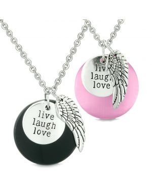 Guardian Angel Wing Live Laugh Love Amulet Couples Agate Pink Simulated Cats Eye Necklaces