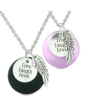 Guardian Angel Wing Live Laugh Love Amulets Couples Agate Purple Simulated Cats Eye Necklaces