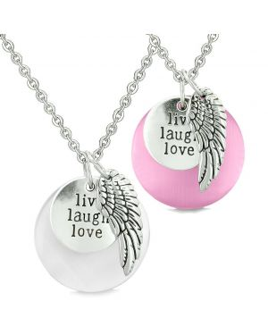 Guardian Angel Wing Live Laugh Love Amulets Couples Pink White Simulated Cats Eye Necklaces