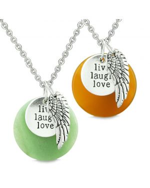 Guardian Angel Wing Live Laugh Love Inspirational Amulets Couples Carnelian Green Quartz Necklaces
