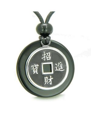 Amulet Lucky Coin Charm Medallion Black Onyx Protection Antiqued Pendant Necklace