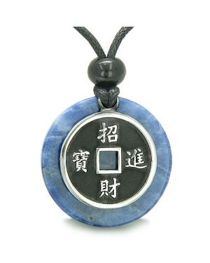 Amulet Lucky Coin Charm Medallion Sodalite ProtectiAntiqued Pendant Necklace