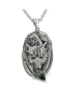 Amulet Courage Wolf Eagle Unity Feathers Black Onyx Arrowhead Spiritual Pendant Necklace