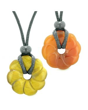 Magic Lotus Flower Lucky 30mm Donut Amulets Carnelian Tiger Eye Love Couples Best Friends Necklaces