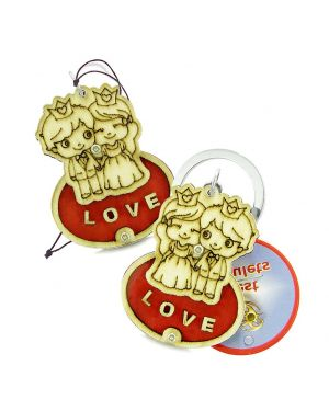 Cute Prince Princess Protection Powers Love Couples Best Friend Wooden Keychain Car Charm Blessings