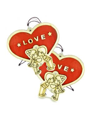 Cute Heart Magic Protection Energy Love Couples Best Friends Set Wooden Car Charm Amulet Blessings