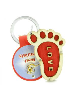 Cute Bare Foot Love Energy Lucky Charm Magic Protection Powers Wooden Keychain Key Ring Blessing