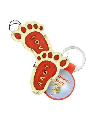 Bare Foot Love Protection Energy Love Couple Best Friends Set Wooden Keychain Car Charm Blessings