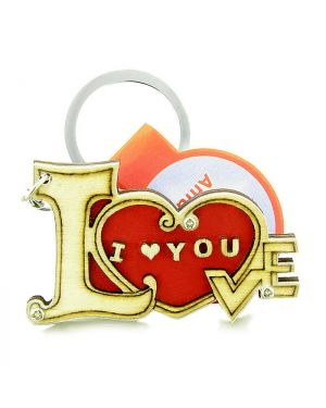 Cute I Love You Magic Heart Energy Lucky Charm Protection Powers Wooden Keychain Key Ring Blessing