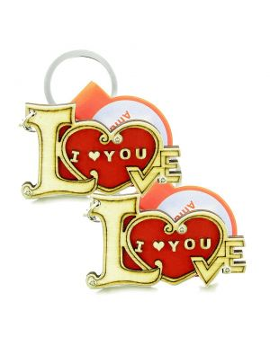 Cute I Love You Magic Heart Lucky Charm Couples Best Friends Set Wooden Keychain Amulet Blessings