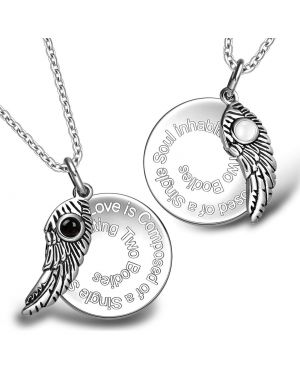Love is Composed of a Single Soul Inspirational Wings Couples Simulated Onyx Cats Eye Necklaces