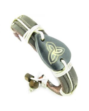 Amulet Genuine Leather Adjustable Bracelet with Celtic Triquetra Trinity Symbol Lucky Charm