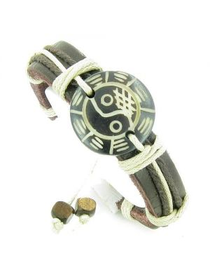 Amulet Genuine Leather Adjustable Bracelet with Lucky Yin Yang BA GUA Natural Bone Lucky Charm