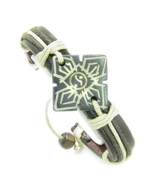 Amulet Genuine Leather Adjustable Bracelet with Yin Yang Four Seasons Symbol Lucky Charm