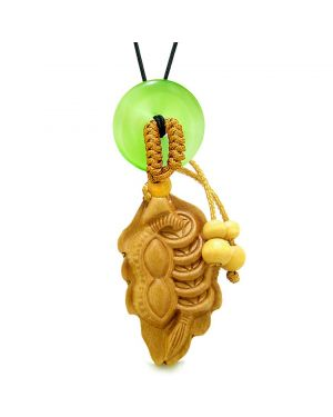 Lucky Bean Fortune Coins Car Charm or Home Decor Green Simulated Cats Eye Donut Protection Amulet